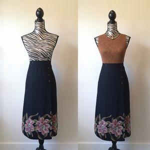 Vintage Lanvin Paris midi A line wrap style skirt